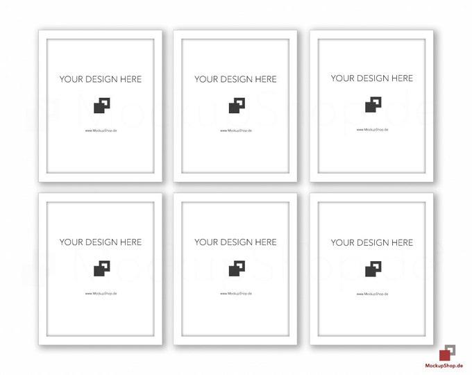 WHITE FRAME MOCKUP / 8x10 / Set of 6 / Frame Mockup /  White Photo Frame Mockup / Instand Download / Frame Stockphoto / Mock Up Frame