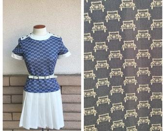 "60s 70s Mini Dress ""Model A"" Novelty Print Pleated Scooter Dress Jonathan Logan XS"