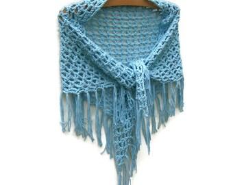 Cotton Summer Shawl Scarf - Crochet Beach Sarong - Hip Wrap - Aquamarine