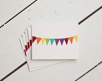 Birthday Card Pack, Rainbow Stationery, Blank Greeting Cards, Cheer Up Card, Colorful Stationary, Bunting Flag Cards, Gifts Under 10