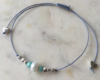 White faceted glass bead & silver minimal bracelet • light blue cord • Hoxton range • dainty •colourful • fully adjustable