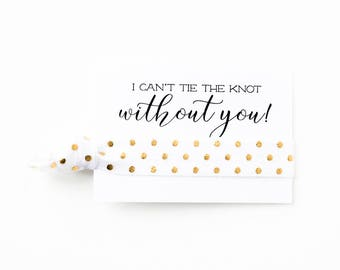 YOU DESIGN | Bridesmaid Gift Hair Tie Favors, White + Gold Dot Hair Tie Bridesmaid Gifts, Wedding Bridal Shower Favors, Polka Dot Hair Ties