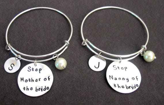 Step Mother of the Bride Bangle,Step Nanny of the Bride Bracelet,Step Mother Jewelry,Step Nanny Jewelry,Keepsake Momento,Free Shipping USA