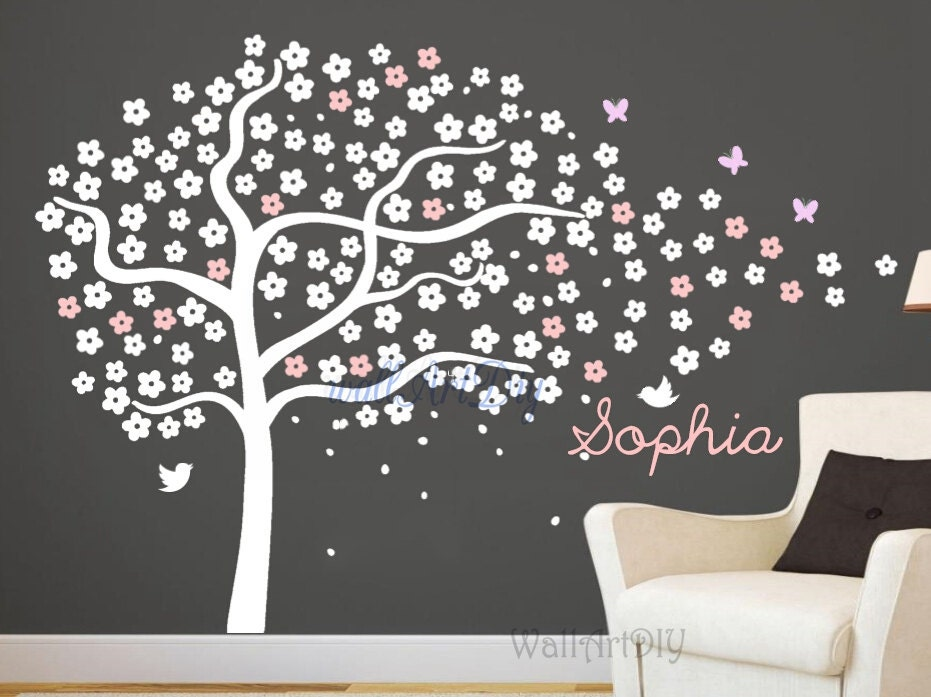Arbre stickers p pini re arbre mural pochoirs white et - Pochoir mural chambre ...