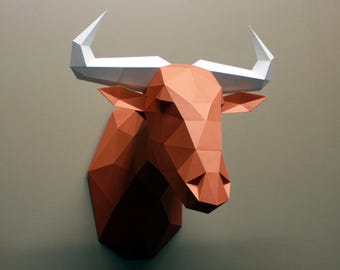 Gerard the Wildebeest - Papercraft, DIY Kit, Papercraft Animal, Safari, Wall Decor, Low Poly, DIY Paper Sculpture, Faux Taxidermy