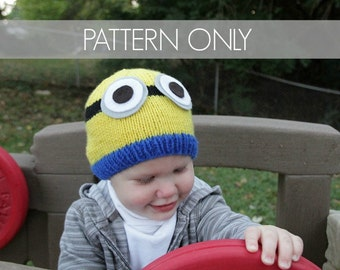 PATTERN ONLY - Minion-Inspired Hat Pattern - Knit your own hat - Striped childrens hat