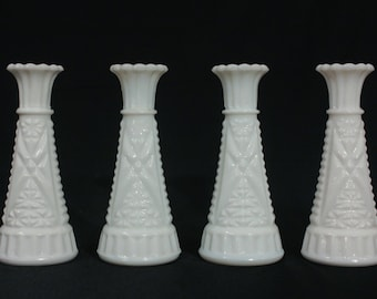 Vintage Diamond Pattern Milk Glass Bud Vases-Set of 4