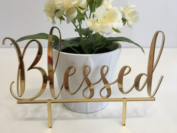 Blessed Cake Topper Custom Wedding Cake Topper Blessed sign Personalized Christian Baptism Cake Topper Christening 1st Communion God bless
