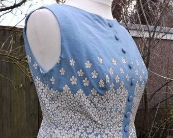 Cotton Button Up Dress, Floral Dress, Hand Painted Dress, Cotton Midi Dress, Vintage Style Dress, Painted Dress, 50s Style, Pastel Dress