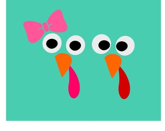 Cute Turkey Face; SVG, DXF, PS, Ai and Pdf Digital Files for Electronic Cutting Machines