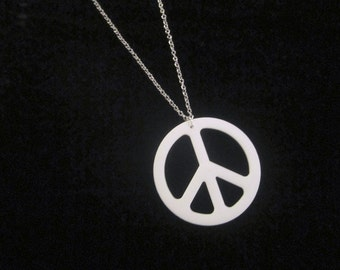 Large Peace Pendant Laser Cut White Acrylic PEACE SIGN PENDANT on Silver Plated Chain - 2.25 inch White Acrylic Peace Sign Necklace on 24 inch Silver Chain