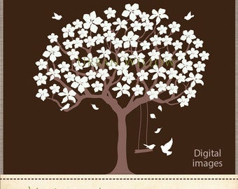 Tree clipart, Tree with white blossoms clipart, Graphics Tree, White Dove, Vector Tree, Clipart Blossoms Commercial Use OK