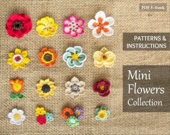 Instant Download - 16 Crochet Flowers Patterns Bundle - Rose, Tulip, Daisy, Orchid and more flower appliques - PDF Tutorial
