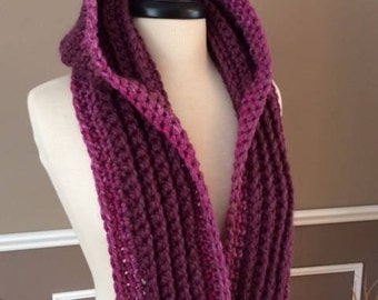 """Ultra Plush Nordic Hooded Scarf, in color """"black cherry"""" ready to ship!"""