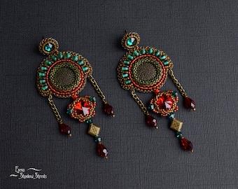 "Earrings ""Amal "" Bead embroidery earrings Earrings with Swarovski crystals Red Emerald Siam Green Bronze Beadwork earrings Seed bead jewelry"