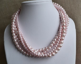 pink pearl necklace,5-rows pearl necklaces,wedding necklace,bridesmaids necklace,glass pearls necklaces, pearl necklace,necklace,wedding