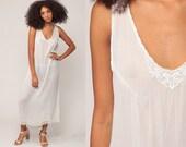 Sheer White Dress Grunge CROCHET Lace 90s Boho Maxi Dress Summer 1990s Vintage Sleeveless Bohemian Sheath Party Flapper Large