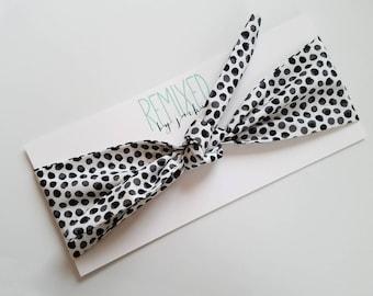 Black Watercolor Polka Dots Head Scarf - Headband