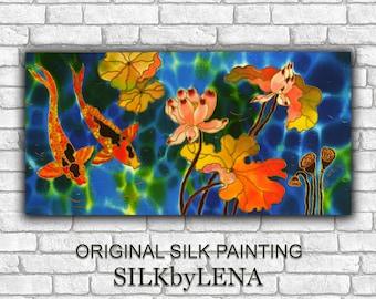 ORIGINAL Acrylic  Koi Fish painting ORIGINAL SILK Painting Fish Pond Lotus Painting  Hand painted Silk Wall Art