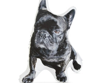 Black French Bulldog Printed Pillow - Dog Photo Cushion - Plush Pillow