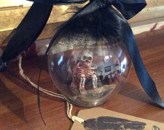 Glass Gothic Halloween Skeleton Spider Christmas Hanging Baubles