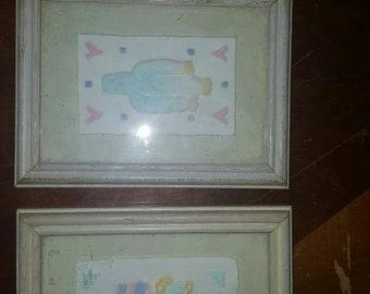 Figi graphics hand cast paper wall art / hanger southwestern style cactus