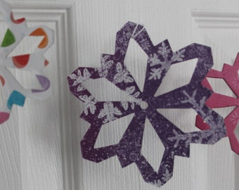 16 bright modern Christmas colored paper/chipboard large/small Snowflake die cuts use as ornaments, garlands+