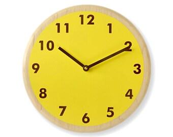 Bright yellow wall clock. Modern wall clock. Kitchen wall clock. Simple wall clock. Wood wall clock. 10 inch wall clock. CL5023