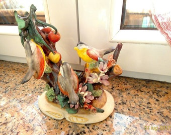 Vintage Capodimonte Porcelain Birds and Flowers, porcelain birds, porcelain flowers birds fruits
