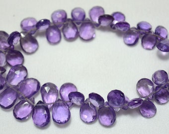 Amethyst Pear Beads, Faceted Beads, Amethyst Briolettes, 4.5x5.5mm To 7x9.5mm,65 Pieces Approx 9 Inch Full Strand