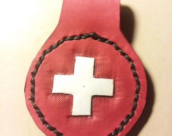 Double-sided Red Cross Leather Key Fob Hand-stitched