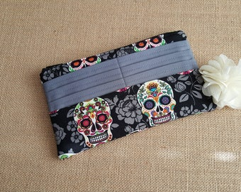 Women's Wallet / Sugar Skulls Wallet / Fabric Wallet / Long Wallet