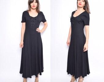 Vintage 90's Black Lace Up Maxi Dress / Ribbed Maxi Dress / Full Circle Long Dress - Size Medium