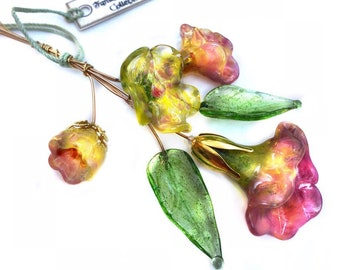 Pink, Yellow, and Green Lampwork Flower Headpin Bouquet. Set of six headpins.