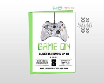 Game On Video Game Party Birthday Invitation Template • Printable Instant Download PDF Template • Birthday Party Invitation Boy Video Gaming