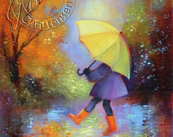Childrens Art - Autumn Rain Yellow Umbrella Orange Boots Fall Colors - Fine Art Print - 10 in x 8 in