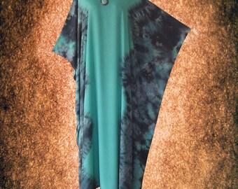 Turquoise Bleached Tie dye Wearable Art Casual Kaftan Dress