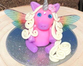 Polymer clay colour changing unicorn with wings