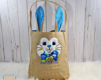 Easter Bunny Bag - Bunny Ear Bag - Personalized Easter Bag - Easter Basket for Boys - Bow Tie Bunny - Bunny Face - Easter Tote