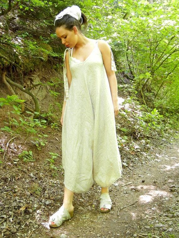 Linen Maxi Summer Jumpsuit, Lagenlook Loose Extravagant Romper, Strap Oversized Jumpsuit, XXXL Romper