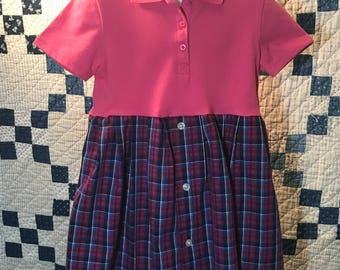 Size 4T pink and blue plaid polo shirt dress.