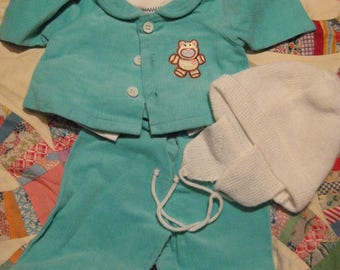 Cabbage Patch Kid Clothing/Outfit Turquoise Blue Teddy Corduroy Set w/Hat