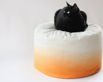 Autumn Orange Dip Dye / Ombre  Bean Bag / Foot stool cover - Hand dyed