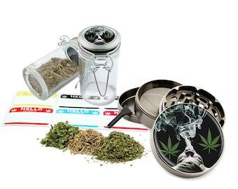 "Smoking - 2.5"" Zinc Alloy Grinder & 75ml Locking Top Glass Jar Combo Gift Set Item # G022015-024"