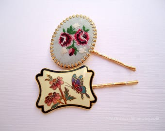 Vintage earring hair pin - Big statement bold cloisonne floral butterfly embroidery flower fabric nature jeweled decorative hair accessories