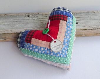 Primitive farmhouse quilt heart pillow