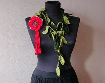 Leaf Lariat Necklace Scarf Crochet Lariat leaf scarf  with red flower brooch, skiny scarf necklace
