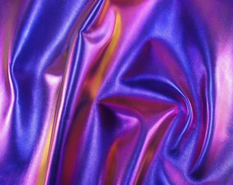 Purple Metallic Change Color Iridescent Effect Leather Lambskin - Holographic Leather Skin
