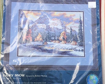 Sunset Dimensions  Counted Cross Stitch Kit 13677 Early Snow Native American Scene Tipi Mountains Trees Robert Walton 14 x 10 Inch