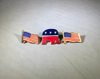 Vintage-American-Flag-Elephant-Red-White-Blue-Republican-Pin-Jewelry